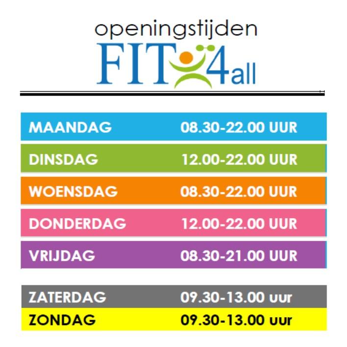 Sportschool FIT4all - openingstijden sept 2016
